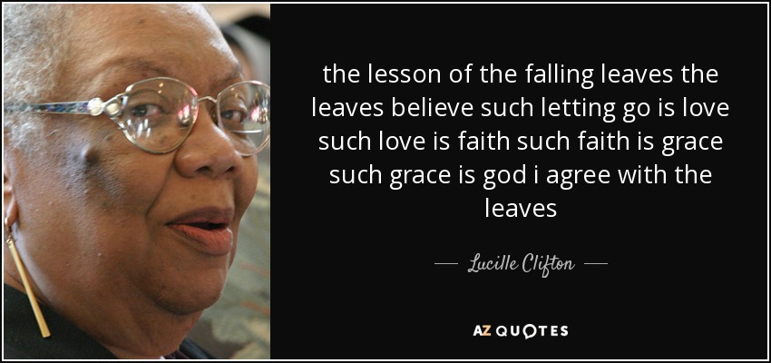 the lesson of the falling leaves the leaves believe such letting go is love such love is faith such faith is grace such grace is god i agree with the leaves - Lucille Clifton