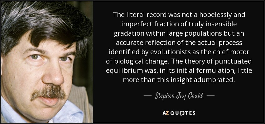 The literal record was not a hopelessly and imperfect fraction of truly insensible gradation within large populations but an accurate reflection of the actual process identified by evolutionists as the chief motor of biological change. The theory of punctuated equilibrium was, in its initial formulation, little more than this insight adumbrated. - Stephen Jay Gould