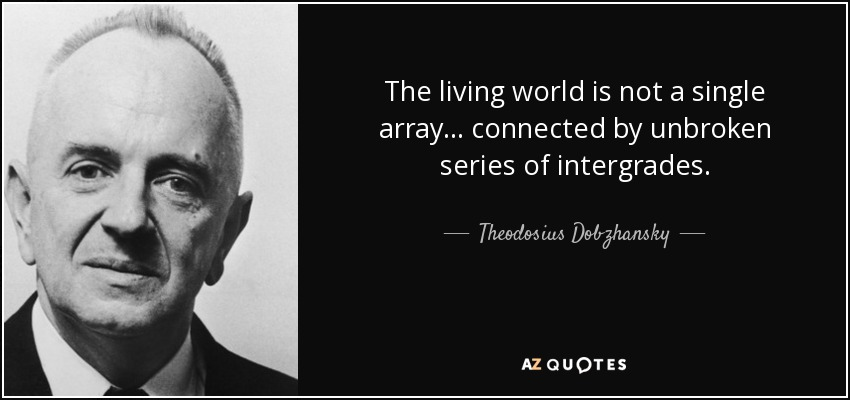 The living world is not a single array... connected by unbroken series of intergrades. - Theodosius Dobzhansky