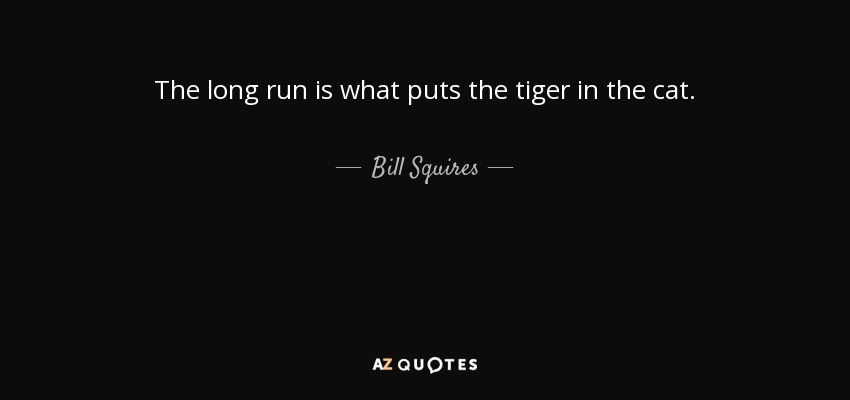 The long run is what puts the tiger in the cat. - Bill Squires