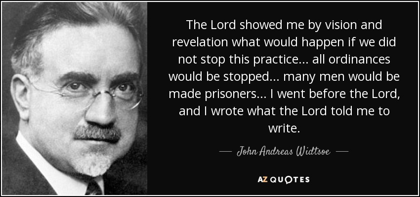 The Lord showed me by vision and revelation what would happen if we did not stop this practice... all ordinances would be stopped... many men would be made prisoners... I went before the Lord, and I wrote what the Lord told me to write. - John Andreas Widtsoe