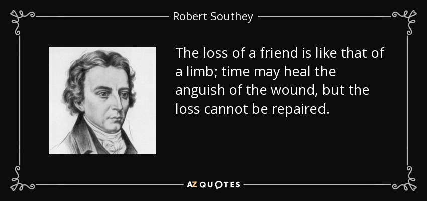 The loss of a friend is like that of a limb; time may heal the anguish of the wound, but the loss cannot be repaired. - Robert Southey