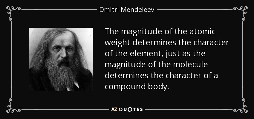 The magnitude of the atomic weight determines the character of the element, just as the magnitude of the molecule determines the character of a compound body. - Dmitri Mendeleev