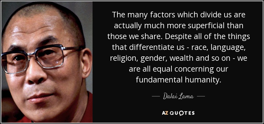 The many factors which divide us are actually much more superficial than those we share. Despite all of the things that differentiate us - race, language, religion, gender, wealth and so on - we are all equal concerning our fundamental humanity. - Dalai Lama
