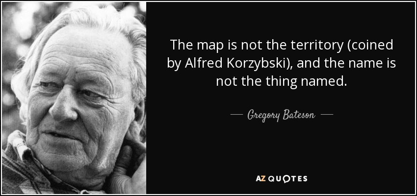 gregory bateson quote the map is not the territory coined by