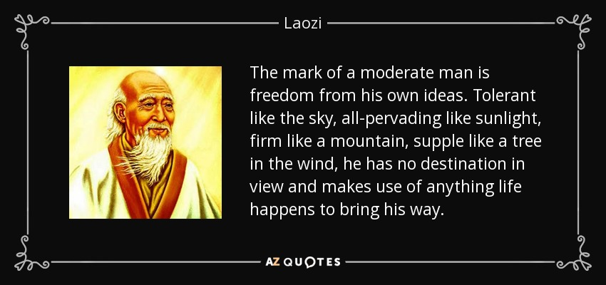 The mark of a moderate man is freedom from his own ideas. Tolerant like the sky, all-pervading like sunlight, firm like a mountain, supple like a tree in the wind, he has no destination in view and makes use of anything life happens to bring his way. - Laozi