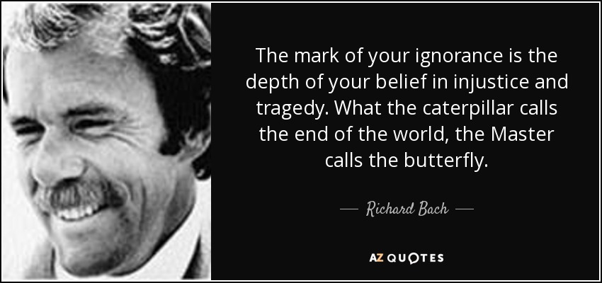 The mark of your ignorance is the depth of your belief in injustice and tragedy. What the caterpillar calls the end of the world, the Master calls the butterfly. - Richard Bach