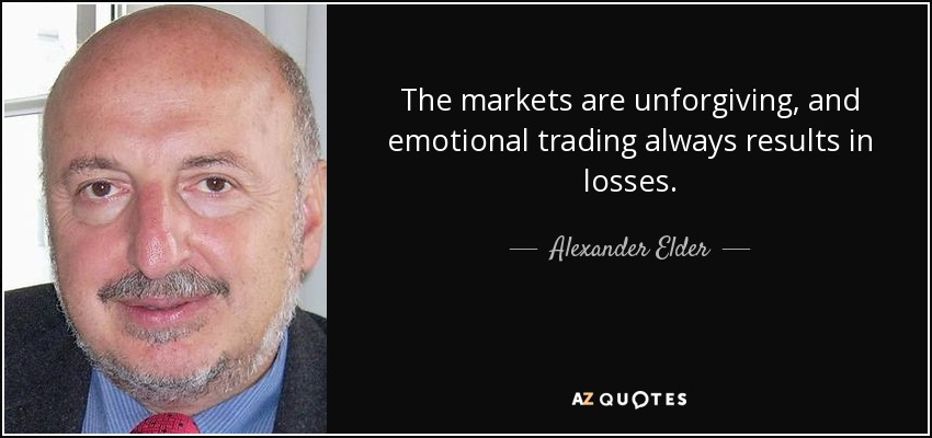 The markets are unforgiving, and emotional trading always results in losses. - Alexander Elder