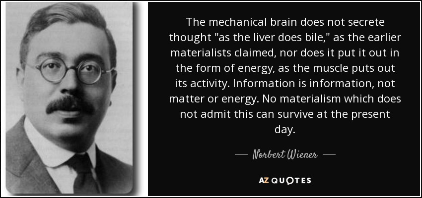 The mechanical brain does not secrete thought