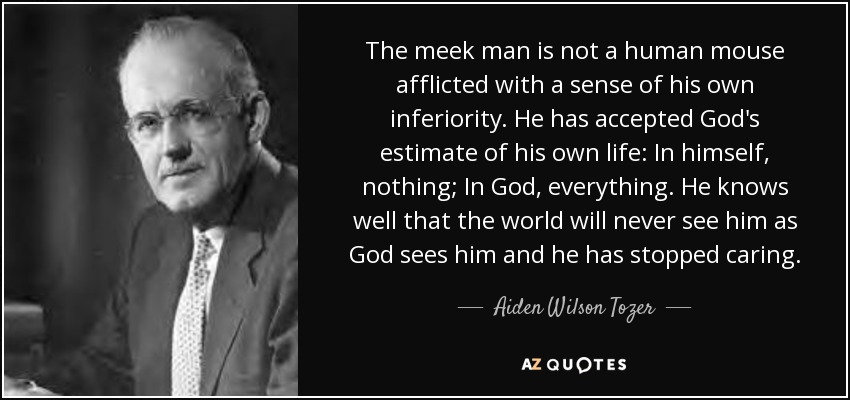 The meek man is not a human mouse afflicted with a sense of his own inferiority. He has accepted God's estimate of his own life: In himself, nothing; In God, everything. He knows well that the world will never see him as God sees him and he has stopped caring. - Aiden Wilson Tozer