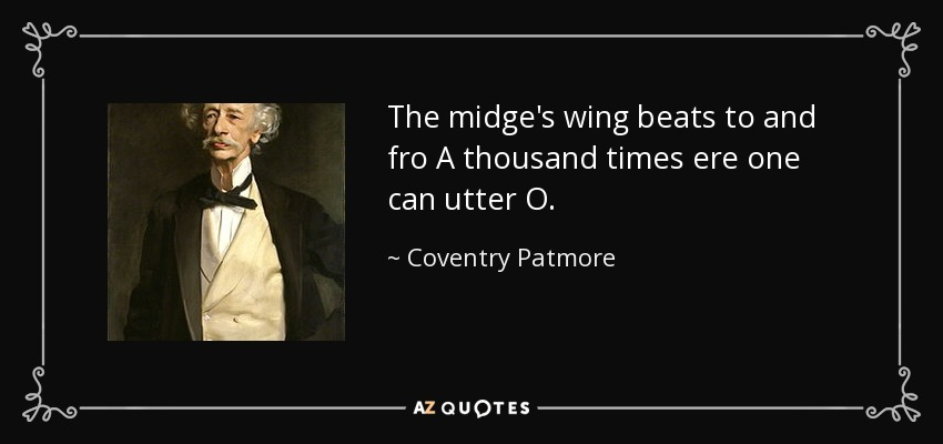 The midge's wing beats to and fro A thousand times ere one can utter O. - Coventry Patmore