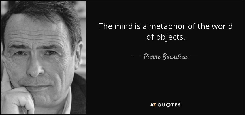 The mind is a metaphor of the world of objects. - Pierre Bourdieu