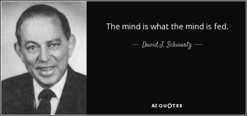 The mind is what the mind is fed. - David J. Schwartz