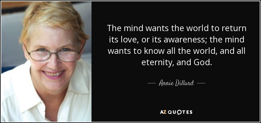 The mind wants the world to return its love, or its awareness; the mind wants to know all the world, and all eternity, and God. - Annie Dillard