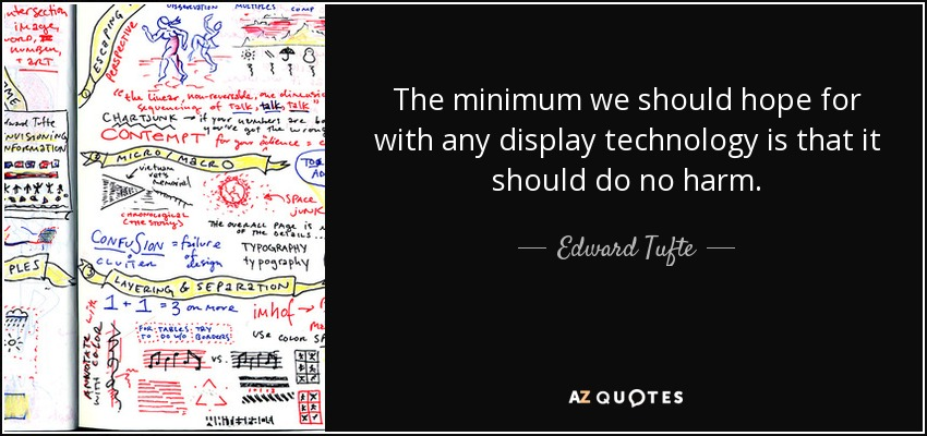 The minimum we should hope for with any display technology is that it should do no harm. - Edward Tufte