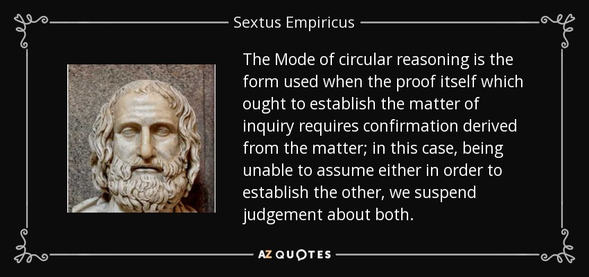 The Mode of circular reasoning is the form used when the proof itself which ought to establish the matter of inquiry requires confirmation derived from the matter; in this case, being unable to assume either in order to establish the other, we suspend judgement about both. - Sextus Empiricus