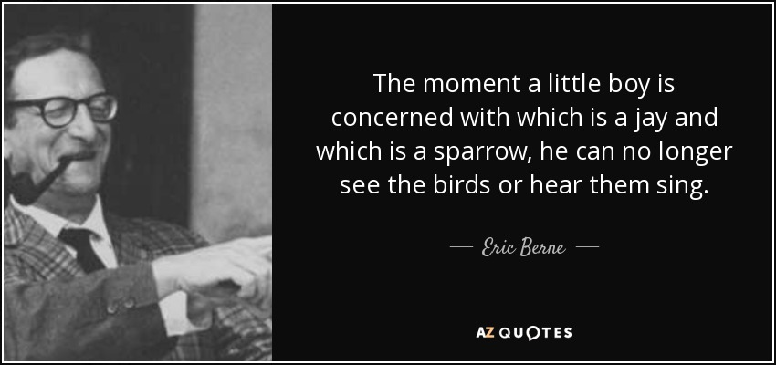 The moment a little boy is concerned with which is a jay and which is a sparrow, he can no longer see the birds or hear them sing. - Eric Berne