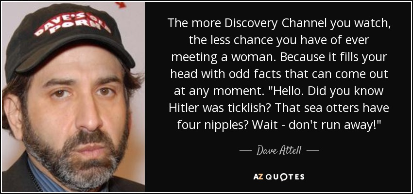 The more Discovery Channel you watch, the less chance you have of ever meeting a woman. Because it fills your head with odd facts that can come out at any moment.