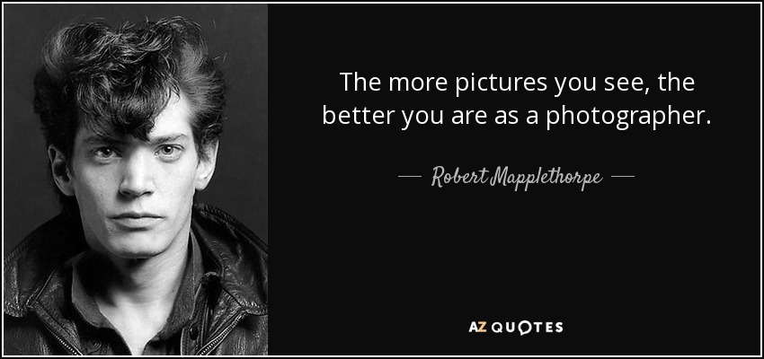 The more pictures you see, the better you are as a photographer. - Robert Mapplethorpe