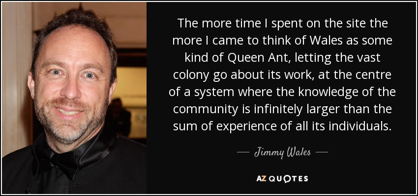 The more time I spent on the site the more I came to think of Wales as some kind of Queen Ant, letting the vast colony go about its work, at the centre of a system where the knowledge of the community is infinitely larger than the sum of experience of all its individuals. - Jimmy Wales