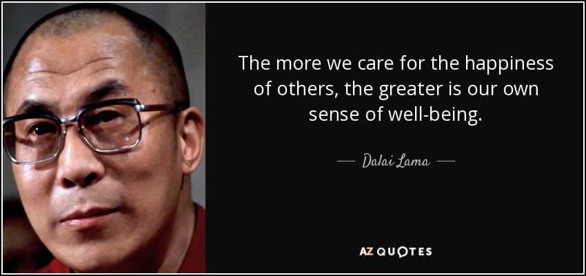 The more we care for the happiness of others, the greater is our own sense of well-being. - Dalai Lama