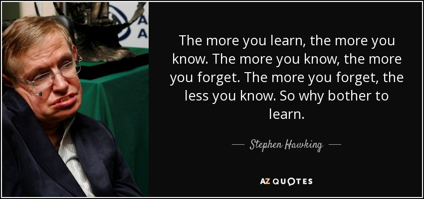 Stephen Hawking Quote The More You Learn The More You Know The