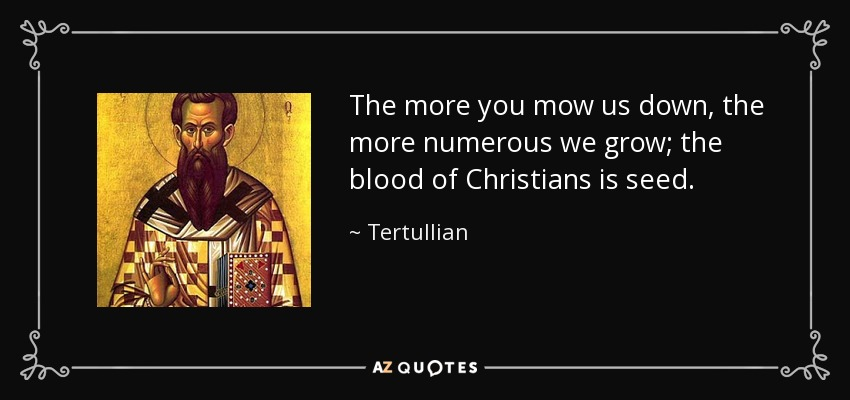 The more you mow us down, the more numerous we grow; the blood of Christians is seed. - Tertullian