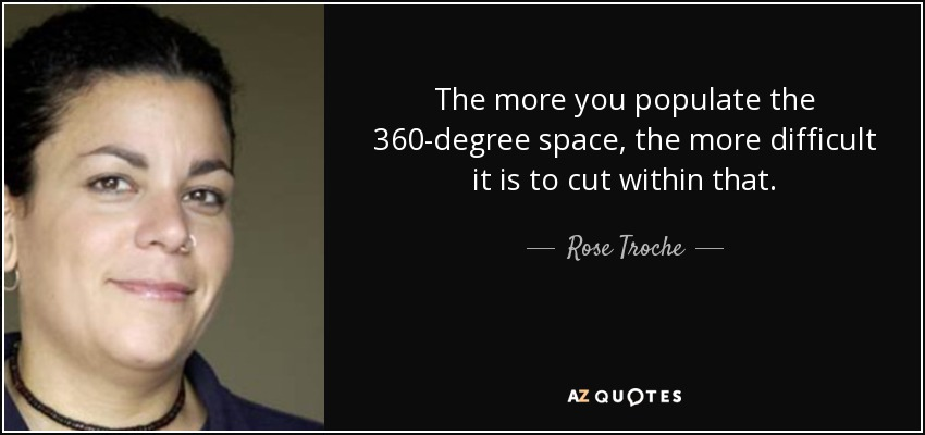 The more you populate the 360-degree space, the more difficult it is to cut within that. - Rose Troche