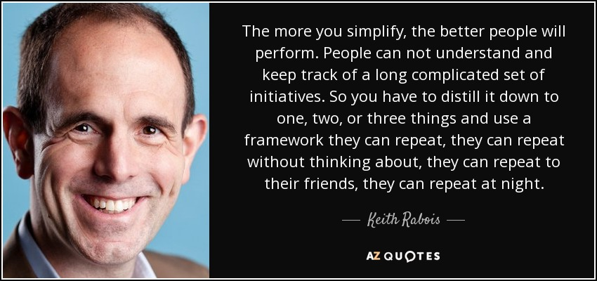 The more you simplify, the better people will perform. People can not understand and keep track of a long complicated set of initiatives. So you have to distill it down to one, two, or three things and use a framework they can repeat, they can repeat without thinking about, they can repeat to their friends, they can repeat at night. - Keith Rabois