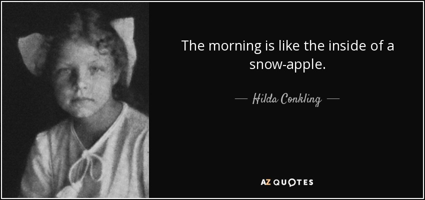 The morning is like the inside of a snow-apple. - Hilda Conkling
