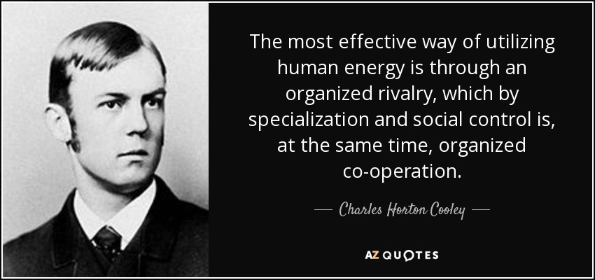The most effective way of utilizing human energy is through an organized rivalry, which by specialization and social control is, at the same time, organized co-operation. - Charles Horton Cooley