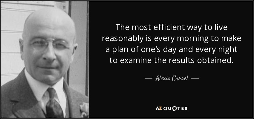 The most efficient way to live reasonably is every morning to make a plan of one's day and every night to examine the results obtained. - Alexis Carrel