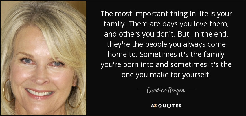 Candice Bergen Quote The Most Important Thing In Life Is Your
