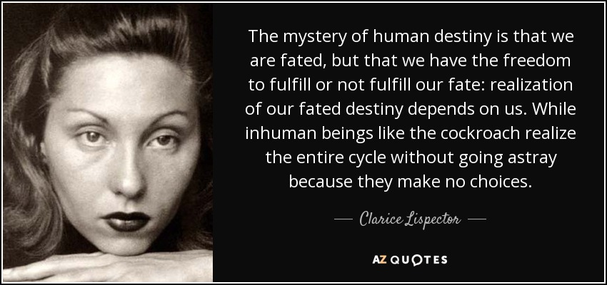 The mystery of human destiny is that we are fated, but that we have the freedom to fulfill or not fulfill our fate: realization of our fated destiny depends on us. While inhuman beings like the cockroach realize the entire cycle without going astray because they make no choices. - Clarice Lispector