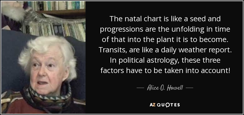 The natal chart is like a seed and progressions are the unfolding in time of that into the plant it is to become. Transits, are like a daily weather report. In political astrology, these three factors have to be taken into account! - Alice O. Howell