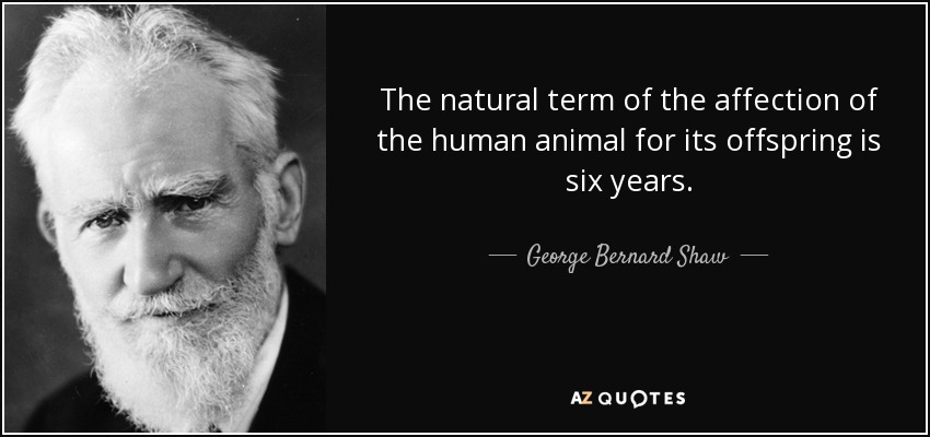 The natural term of the affection of the human animal for its offspring is six years. - George Bernard Shaw