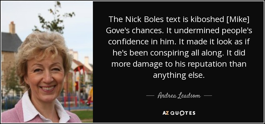 The Nick Boles text is kiboshed [Mike] Gove's chances. It undermined people's confidence in him. It made it look as if he's been conspiring all along. It did more damage to his reputation than anything else. - Andrea Leadsom