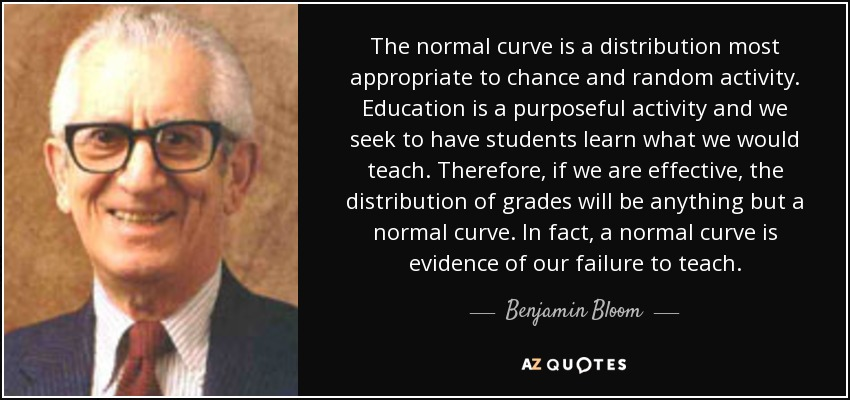 The normal curve is a distribution most appropriate to chance and random activity. Education is a purposeful activity and we seek to have students learn what we would teach. Therefore, if we are effective, the distribution of grades will be anything but a normal curve. In fact, a normal curve is evidence of our failure to teach. - Benjamin Bloom