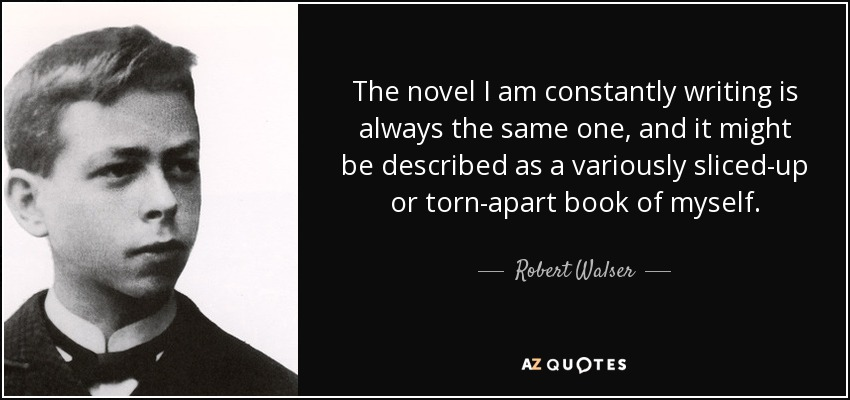 The novel I am constantly writing is always the same one, and it might be described as a variously sliced-up or torn-apart book of myself. - Robert Walser