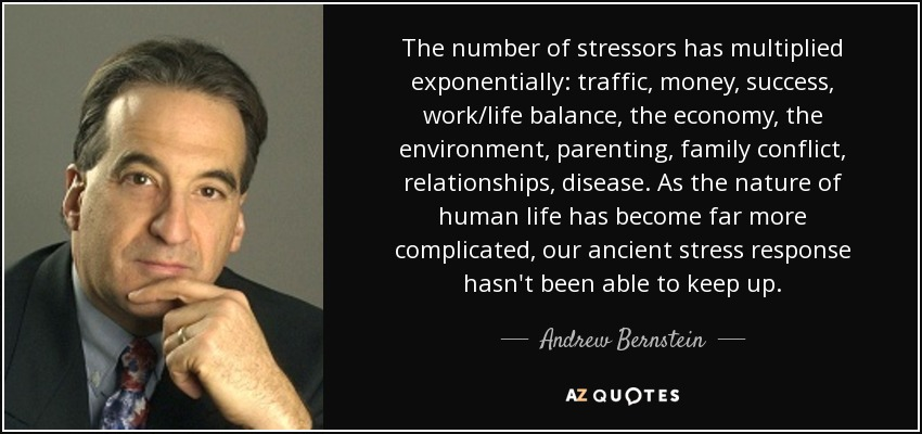The number of stressors has multiplied exponentially: traffic, money, success, work/life balance, the economy, the environment, parenting, family conflict, relationships, disease. As the nature of human life has become far more complicated, our ancient stress response hasn't been able to keep up. - Andrew Bernstein