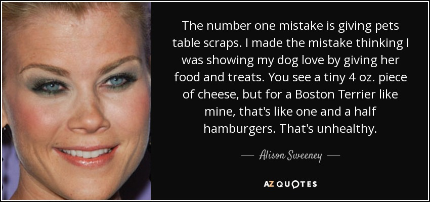 The number one mistake is giving pets table scraps. I made the mistake thinking I was showing my dog love by giving her food and treats. You see a tiny 4 oz. piece of cheese, but for a Boston Terrier like mine, that's like one and a half hamburgers. That's unhealthy. - Alison Sweeney