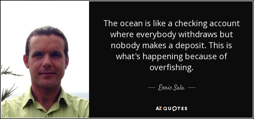 The ocean is like a checking account where everybody withdraws but nobody makes a deposit. This is what's happening because of overfishing. - Enric Sala