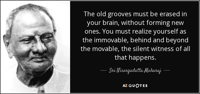 The old grooves must be erased in your brain, without forming new ones. You must realize yourself as the immovable, behind and beyond the movable, the silent witness of all that happens. - Sri Nisargadatta Maharaj