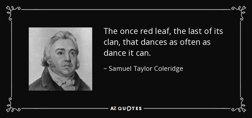 The once red leaf, the last of its clan, that dances as often as dance it can. - Samuel Taylor Coleridge
