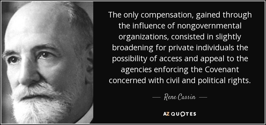 The only compensation, gained through the influence of nongovernmental organizations, consisted in slightly broadening for private individuals the possibility of access and appeal to the agencies enforcing the Covenant concerned with civil and political rights. - Rene Cassin