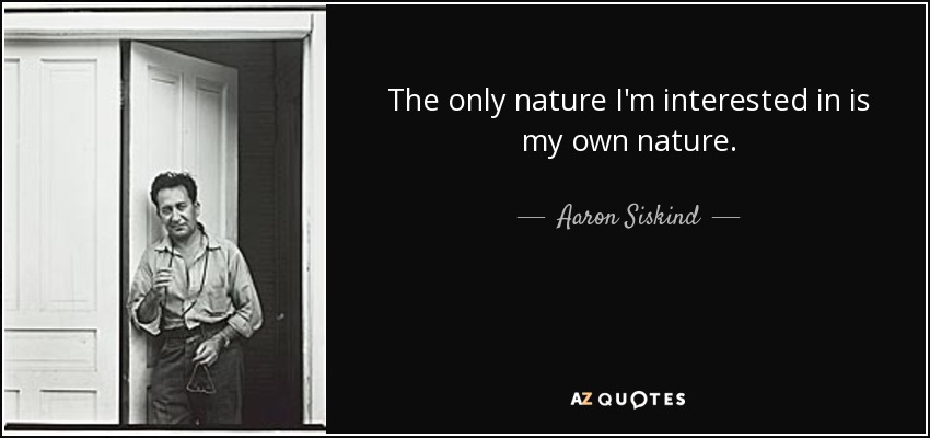 The only nature I'm interested in is my own nature. - Aaron Siskind