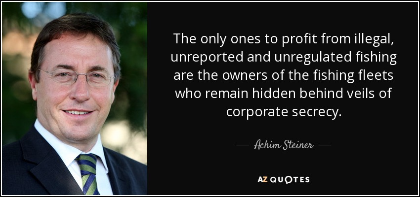 The only ones to profit from illegal, unreported and unregulated fishing are the owners of the fishing fleets who remain hidden behind veils of corporate secrecy. - Achim Steiner