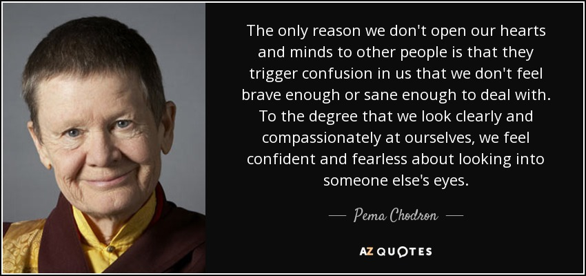 The only reason we don't open our hearts and minds to other people is that they trigger confusion in us that we don't feel brave enough or sane enough to deal with. To the degree that we look clearly and compassionately at ourselves, we feel confident and fearless about looking into someone else's eyes. - Pema Chodron