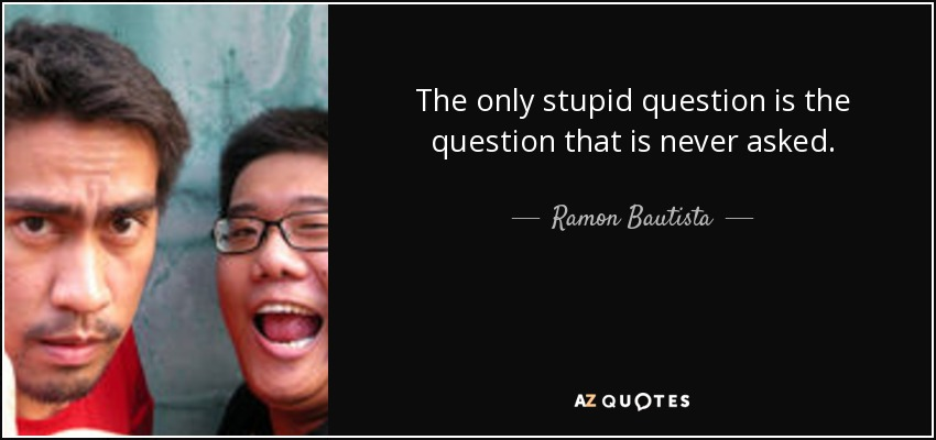 The only stupid question is the question that is never asked. - Ramon Bautista