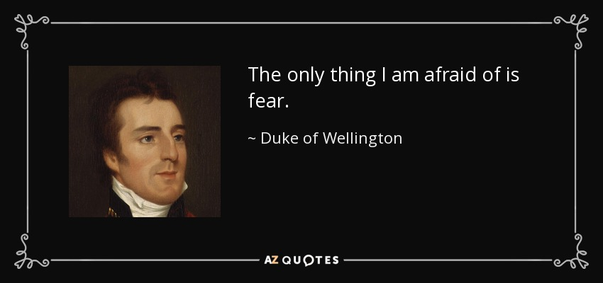 The only thing I am afraid of is fear. - Duke of Wellington